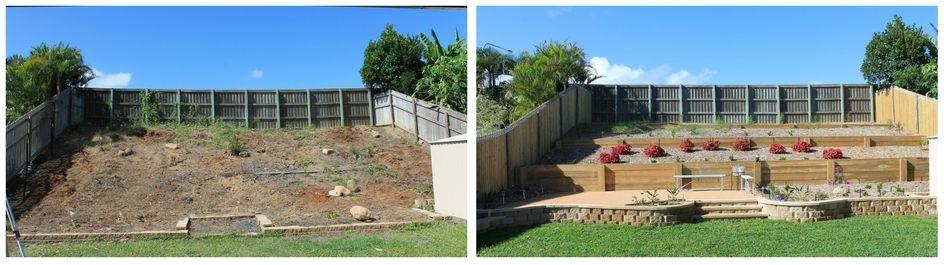 Garden retaining wall planted